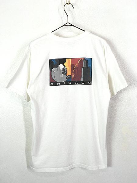[2] 古着 90s Disney Mickey ミッキー 「CHICAGO」 両面 キャラクター Tシャツ L 古着