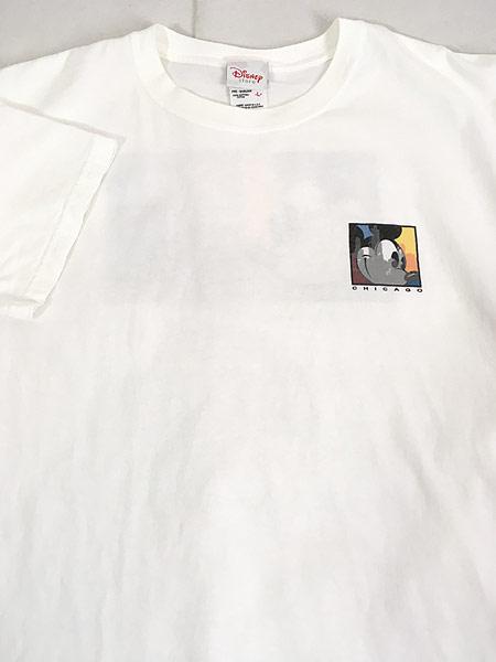 [3] 古着 90s Disney Mickey ミッキー 「CHICAGO」 両面 キャラクター Tシャツ L 古着