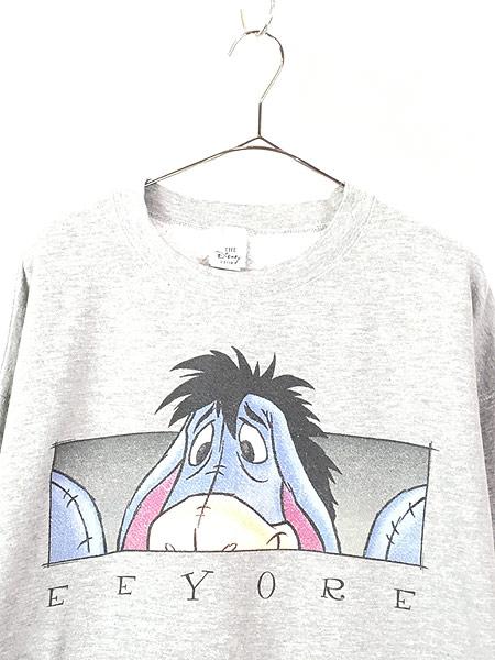 [2] 古着 90s USA製 Disney Pooh EEYORE イーヨー BIG キャラクター スウェット XL 古着