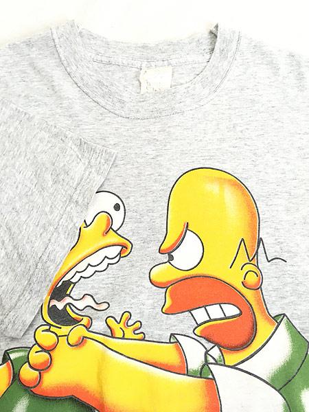 [4] 古着 90s The Simpsons シンプソンズ バート ホーマー シュール キャラ Tシャツ XL 古着