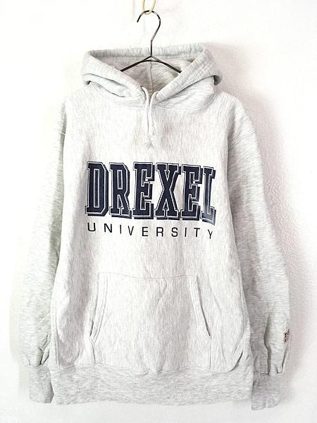 [1] 古着 90s USA製 DREXEL UNIVERSITY リバース タイプ ヘビー スウェット パーカー L 古着