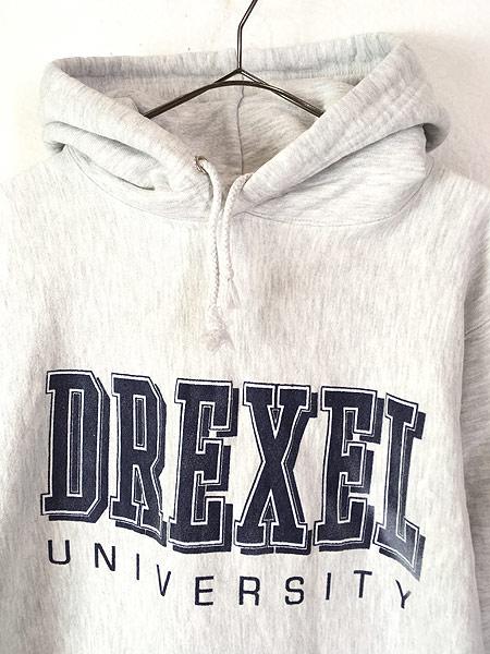 [2] 古着 90s USA製 DREXEL UNIVERSITY リバース タイプ ヘビー スウェット パーカー L 古着