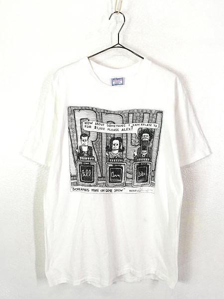 [1] 古着 90s USA製 Robert Therrien 「Screaming Man on Game Show」 BADBOB ポップアート Tシャツ L 古着