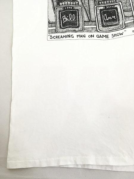 [6] 古着 90s USA製 Robert Therrien 「Screaming Man on Game Show」 BADBOB ポップアート Tシャツ L 古着