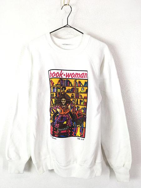 [1] 古着 80s USA製 Kiki 「book woman」 本 ポップアート スウェット トレーナー L 古着