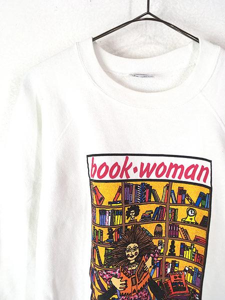 [2] 古着 80s USA製 Kiki 「book woman」 本 ポップアート スウェット トレーナー L 古着