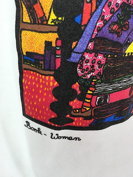 [4] 古着 80s USA製 Kiki 「book woman」 本 ポップアート スウェット トレーナー L 古着