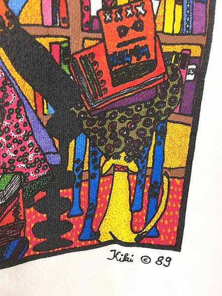[5] 古着 80s USA製 Kiki 「book woman」 本 ポップアート スウェット トレーナー L 古着