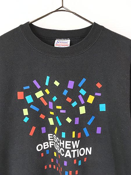 [2] 古着 90s USA製 「ESCHEW OBFUSCATION」 カラフル グラフィック アート スウェット XL 古着