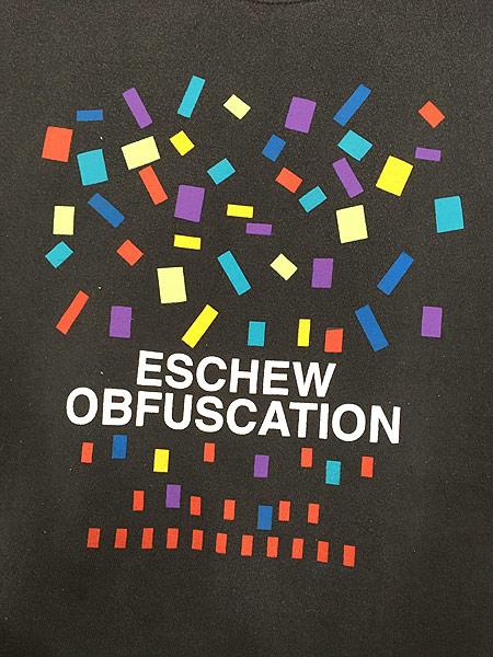 [5] 古着 90s USA製 「ESCHEW OBFUSCATION」 カラフル グラフィック アート スウェット XL 古着