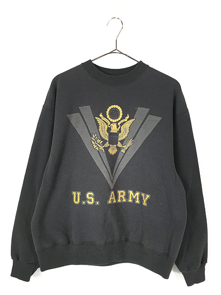 [1] 古着 90s USA製 ARMY リフレクター ミリタリー スウェット トレーナー 黒 L 古着