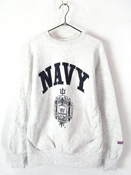 [1] 古着 90s USA製 NAVY ミリタリー リバース タイプ ヘビー スウェット トレーナー L 古着