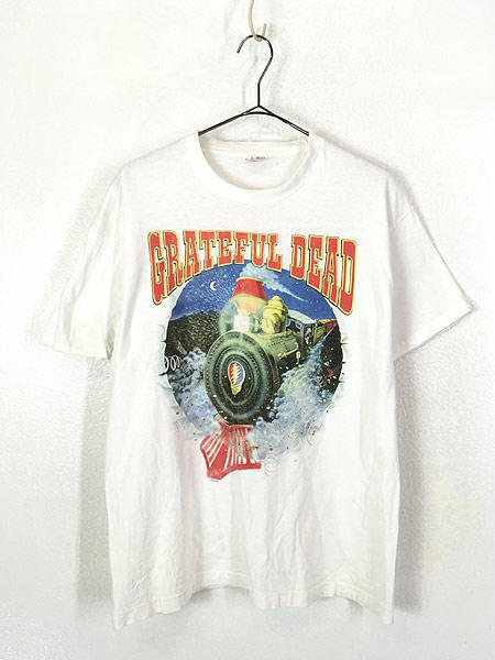 [1] 古着 90s USA製 Grateful Dead 「Summer Tour 1995」 蒸気機関車 スカル ロック バンド Tシャツ L 古着