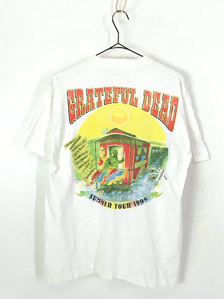 [3] 古着 90s USA製 Grateful Dead 「Summer Tour 1995」 蒸気機関車 スカル ロック バンド Tシャツ L 古着