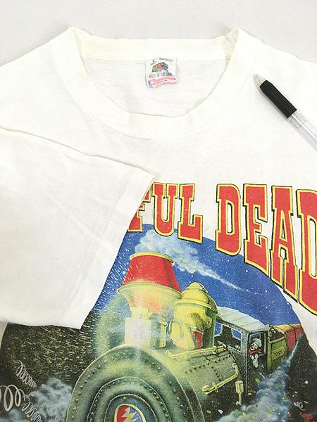 [4] 古着 90s USA製 Grateful Dead 「Summer Tour 1995」 蒸気機関車 スカル ロック バンド Tシャツ L 古着