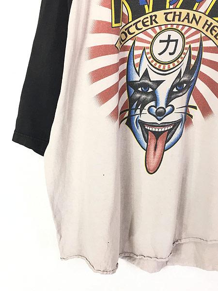 [3] 古着 90s KISS 「Hotter than Hell 力」 メタル ロック バンド ラグラン Tシャツ XL位 古着
