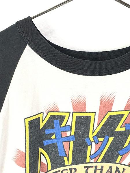 [4] 古着 90s KISS 「Hotter than Hell 力」 メタル ロック バンド ラグラン Tシャツ XL位 古着