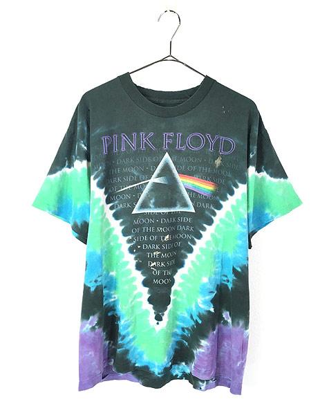 [1] 古着 80s&00s Pink Floyd 「The Dark Side Of The Moon」 狂気 タイダイ プログレ ロック バンド Tシャツ ボロ XL位 古着