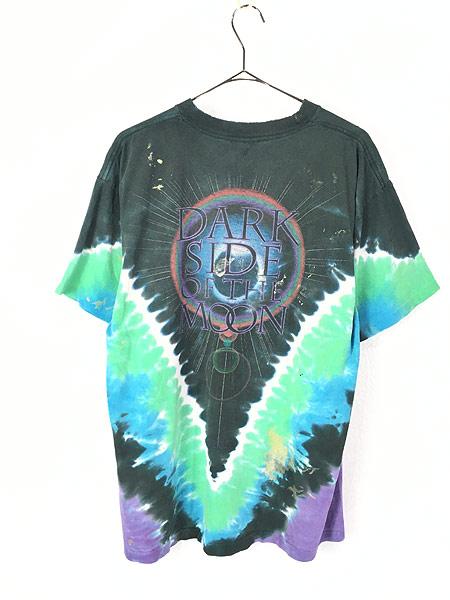 [4] 古着 80s&00s Pink Floyd 「The Dark Side Of The Moon」 狂気 タイダイ プログレ ロック バンド Tシャツ ボロ XL位 古着