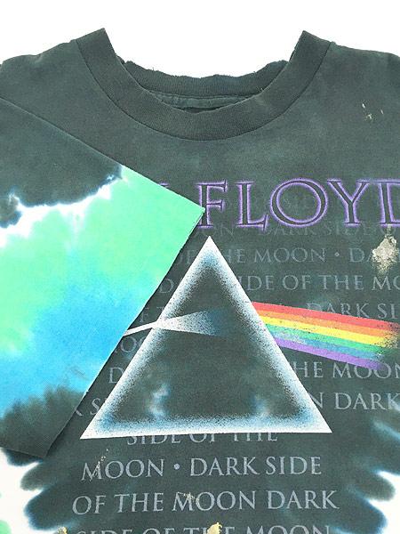 [5] 古着 80s&00s Pink Floyd 「The Dark Side Of The Moon」 狂気 タイダイ プログレ ロック バンド Tシャツ ボロ XL位 古着