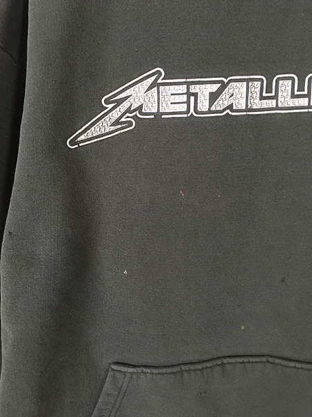 [3] 古着 00s METALLICA メタリカ 凸凹 パッチ ヘヴィメタル ロック バンド スウェット パーカー XL 古着