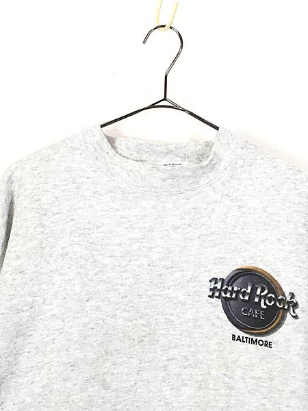 [2] 古着 90s Hard Rock Cafe 「BALTIMORE」 両面 ハードロック スウェット トレーナー L 古着