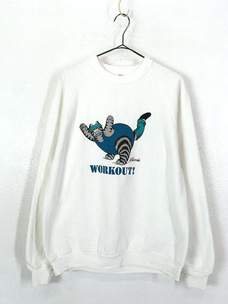[1] 古着 90s USA製 Crazy Shirts Hawaii 「WORK OUT」 クリバンキャット エクササイズ スウェット L 古着
