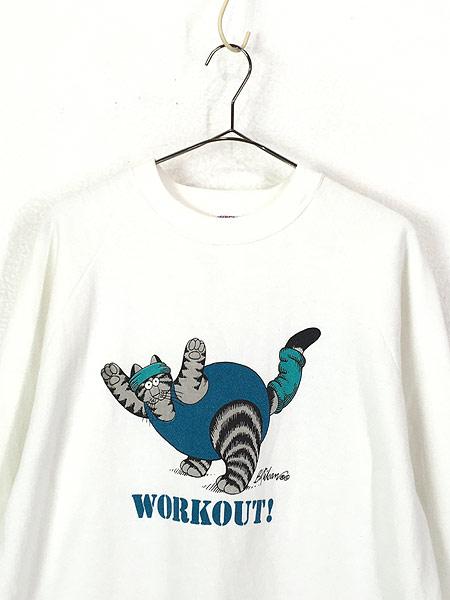 [2] 古着 90s USA製 Crazy Shirts Hawaii 「WORK OUT」 クリバンキャット エクササイズ スウェット L 古着