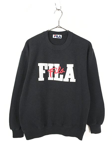 [1] 古着 90s FILA フィラ プリント & 刺しゅう スウェット トレーナー 黒 S位 古着