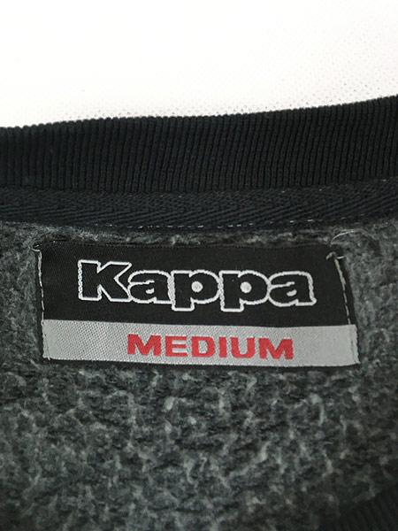 [6] 古着 90s KAPPA ロゴ 刺しゅう スウェット トレーナー オールブラック M 古着
