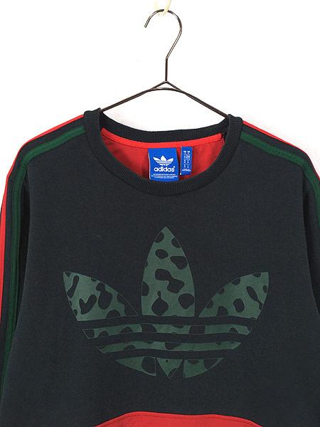 [2] 古着 adidas トレフォイル 迷彩 トリコロール スウェット トレーナー 黒 M 古着