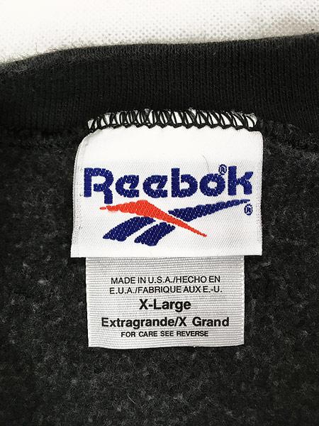 [6] 古着 90s USA製 Reebok ワンポイント 前V スウェット トレーナー 黒 XL 古着