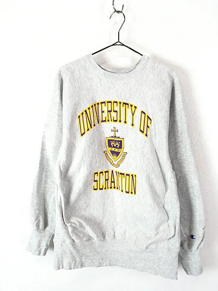 [1] 古着 90s Champion Reverse Weave 「SCRANTON」 カレッジ リバース スウェット L 古着