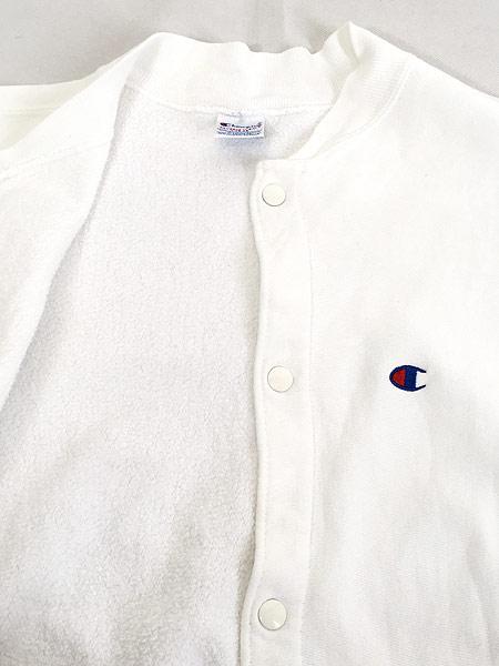 [6] 古着 90s USA製 Champion Reverse Weave リバース スナップ カーディガン 白 L 古着