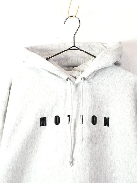 [2] 古着 Champion Reverse Weave 「MOTION」 両面 リバース スウェット パーカー L 古着