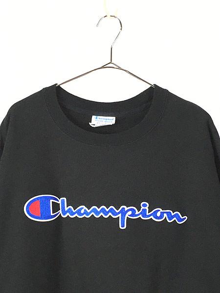 [2] 古着 Champion Reverse Weave BIGロゴ リバース スウェット 黒 XXL 古着