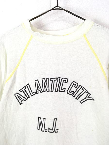 [2] 古着 70s USA製 「ATLANTIC CITY」 2段 染み込み オールド スウェット トレーナー L位 古着