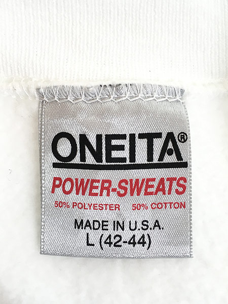 [5] 古着 90s USA製 ONEITA 無地 ソリッド オールド スウェット トレーナー 白 L 古着
