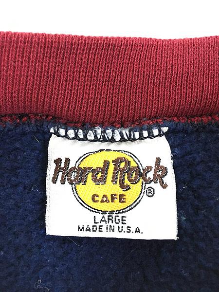 [5] 古着 90s USA製 Hard Rock Cafe リバース タイプ クレイジー ハードロック スウェット L 古着