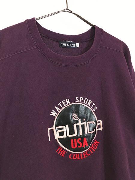 [3] 古着 90s NAUTICA ノーティカ BIG フェイクレザー ロゴ スウェット トレーナー XL 古着