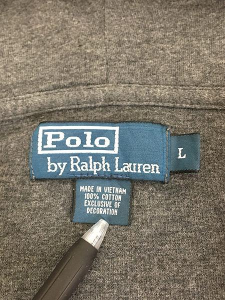[7] 古着 POLO Ralph Lauren ワンポイント リブ編み ニット ジップ パーカー L 古着