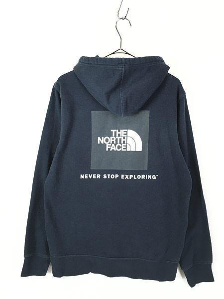 [3] 古着 TNF The North Face ボックス ロゴ 両面 プリント ライト スウェット パーカー M 古着