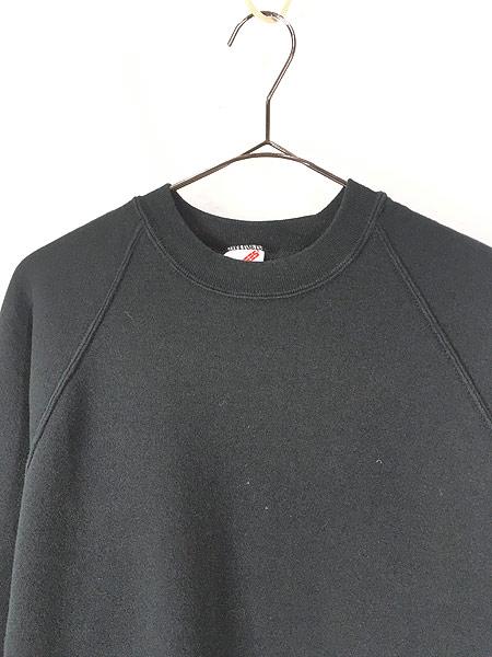 [2] 古着 90s USA製 Jerzees 無地 ソリッド オールド ラグラン スウェット トレーナー 黒 XL 古着