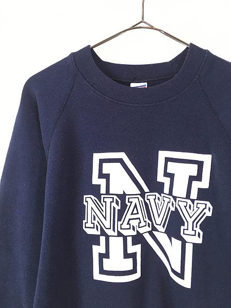 [2] 古着 80s USA製 Soffe 「NAVY」 ミリタリー スウェット トレーナー L 古着