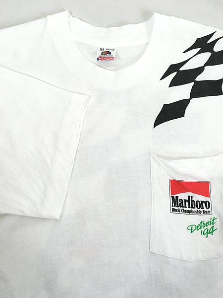 [4] 古着 90s USA製 Marlboro F1 チェッカー フラッグ ポケット Tシャツ ポケT XL 古着�