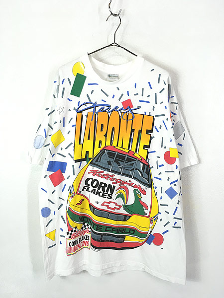 [1] 古着 90s USA製 Kelloggs 豪華 キャラクター オールオーバー レーシング Tシャツ L 古着