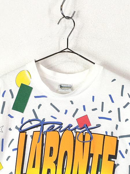 [2] 古着 90s USA製 Kelloggs 豪華 キャラクター オールオーバー レーシング Tシャツ L 古着