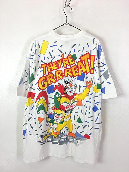 [3] 古着 90s USA製 Kelloggs 豪華 キャラクター オールオーバー レーシング Tシャツ L 古着