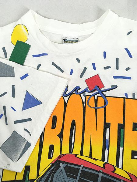 [4] 古着 90s USA製 Kelloggs 豪華 キャラクター オールオーバー レーシング Tシャツ L 古着