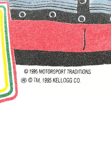 [5] 古着 90s USA製 Kelloggs 豪華 キャラクター オールオーバー レーシング Tシャツ L 古着